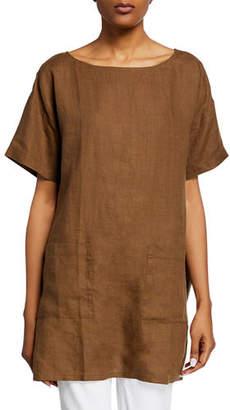 Eileen Fisher Boat-Neck Short-Sleeve Organic Handkerchief Linen Tunic