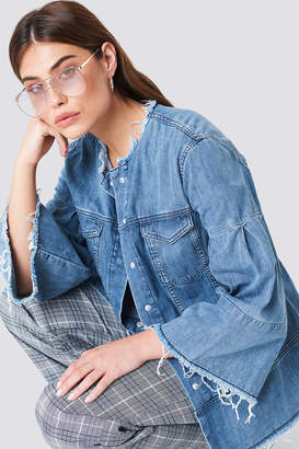 NA-KD Na Kd Wide Sleeve Denim Jacket Mid Blue