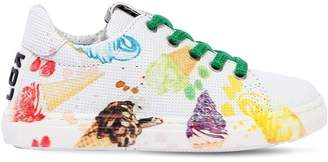 Ice Cream Printed Leather Sneakers