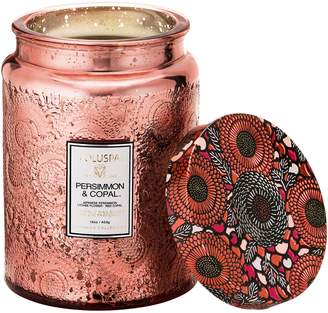 Voluspa Japonica Persimmon & Copal Large Embossed Glass Jar Candle
