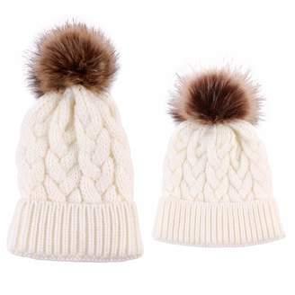 2623772189c EYIIYE 2Pcs Set Mother Baby Daughter Son Winter Warm Knit Hat Family Crochet  Fur Beanie