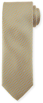Canali Lattice Silk Tie, Yellow