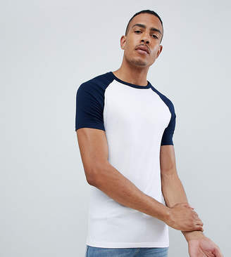 2252f7c3b49 Asos Design DESIGN Tall muscle fit crew neck t-shirt with stretch with  contrast raglan