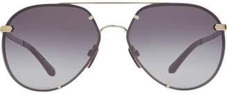 Burberry Eyewear Check Detail Pilot Sunglasses