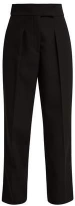 Calvin Klein Uniform Velvet Trim Wool Trousers - Womens - Black
