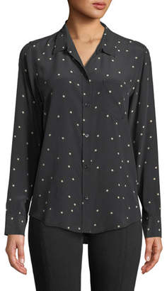 Rails Kate Star-Print Silk Button-Front Shirt with Pocket