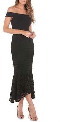 Kay Unger Crepe & Lace Off the Shoulder Dress