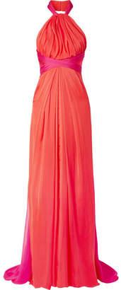 Brandon Maxwell - Gathered Two-tone Silk-chiffon Halterneck Gown - Papaya