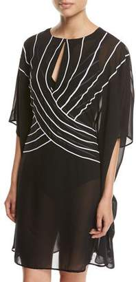 Gottex Embrace Striped Belt Caftan Coverup, Black $158 thestylecure.com