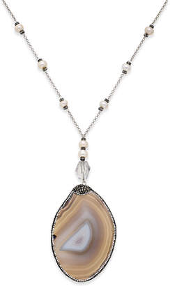 Paul & Pitu Naturally Silver-Tone Multi-Stone and Cultured Freshwater Pearl Pendant Necklace