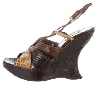 Prada Alligator Platform Wedge Sandals