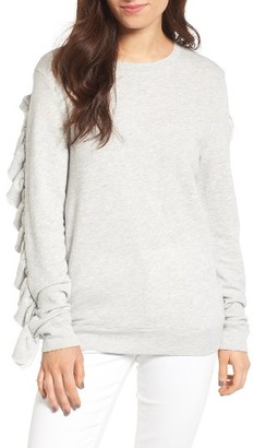 Women's Hinge Ruffle Sleeve Sweatshirt $69 thestylecure.com
