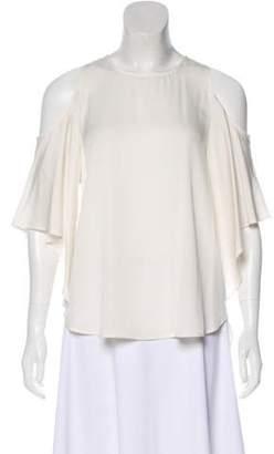 Halston Cold-Shoulder Accent Silk Top
