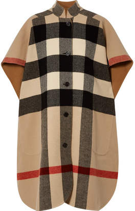 Burberry Reversible Checked Wool-blend Cape - Camel