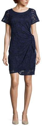 Robbie Bee Short Sleeve Lace Sheath Dress