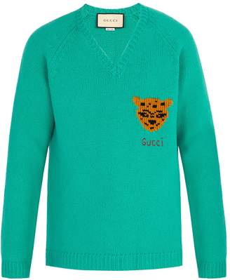 Gucci V-neck tiger-intarsia wool sweater