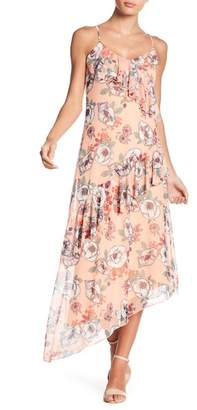 HIATUS Asymmetric Ruffle Floral Print Mesh Maxi Dress