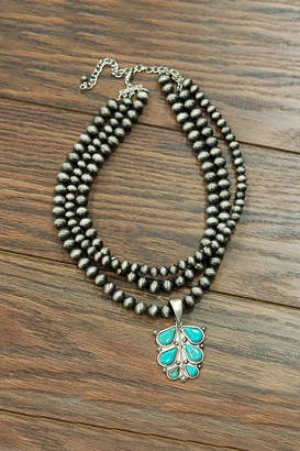 Jchronicles Natural-Turquoise Navajo-Pearl Necklace