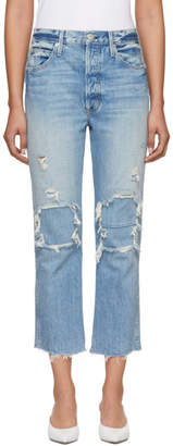 Amo Blue High-Rise Loverboy Patch Repair Jeans