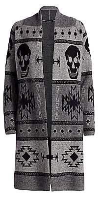 360 Cashmere Women's Willa Skull Intarsia Wool & Cashmere Cardigan