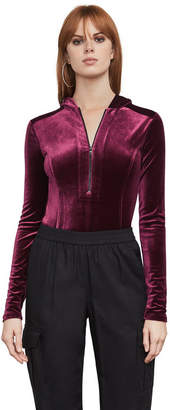 BCBGMAXAZRIA Obree Velvet Hooded Bodysuit