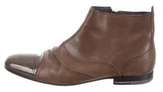 Bottega Veneta Leather Cap-Toe Ankle Boots