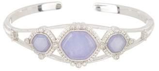 Judith Ripka Sterling Silver Lavender Jade with White Topaz Three Stone Cuff Bracelet