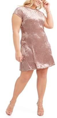 POOF Juniors' Plus Short Sleeve Crushed Velvet Skater Dress