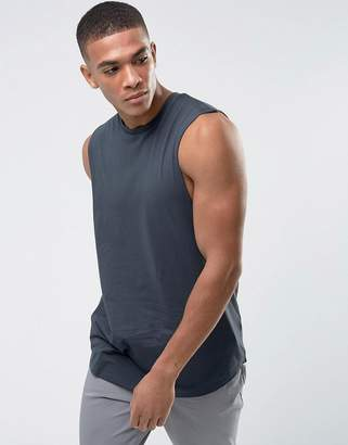 Asos DESIGN Longline Tank With Dropped Armhole and Curve Hem In Gray