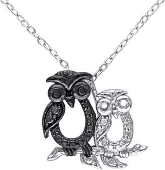 Black Diamond Accent Owl Pendant w/ Chain, Sterling