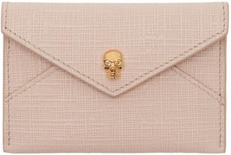 Alexander McQueen Pink & Gold Skull Envelope Card Holder $175 thestylecure.com