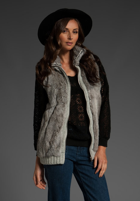 Arabella Ramsay Long Line Grey Rabbit Fur Vest