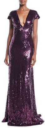 Pamella Roland Deep-V Cap-Sleeve Beaded Embellished Column Evening Gown