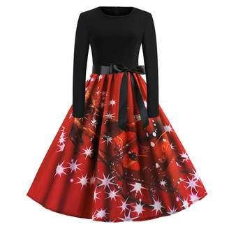 13f5806230f99 FANOUD Women s Vintage Casual Xmas Print Long Sleeve Christmas Party Swing  Dress