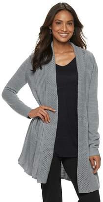 Dana Buchman Women's Pleated Open-Work Cardigan Sweater
