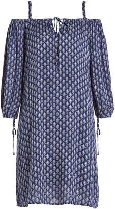 Velvet Printed Cold-Shoulder Dress