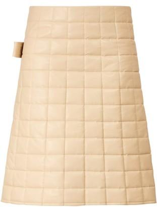 Bottega Veneta High Rise Quilted Leather Skirt - Womens - Ivory
