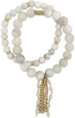 Electric Picks White Agate & Rosary Chain Shimmer Bracelets (Set of 2)