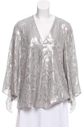 Elizabeth and James Silk Metallic-Accented Top