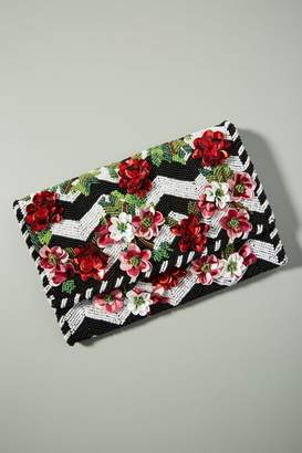 Anthropologie Faith Floral-Embellished Clutch