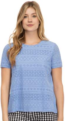 Izod Women's Eyelet Pleat-Back Tee