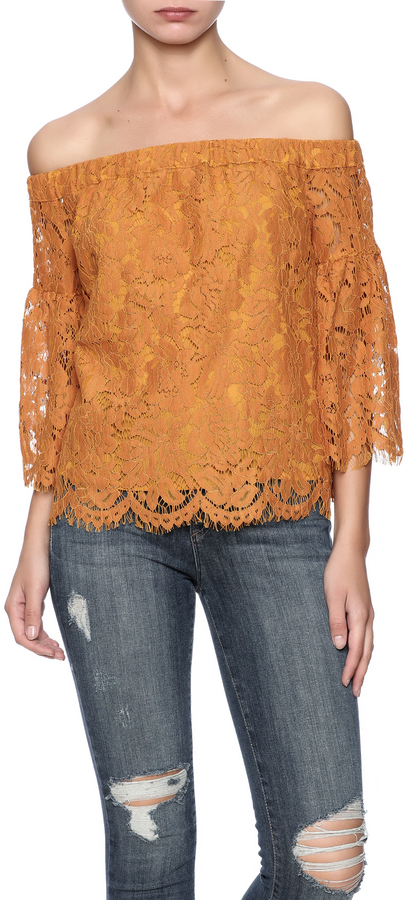Mustard Seed Lace Off-Shoulder Top