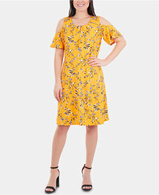NY Collection Cold-Shoulder Fit & Flare Dress