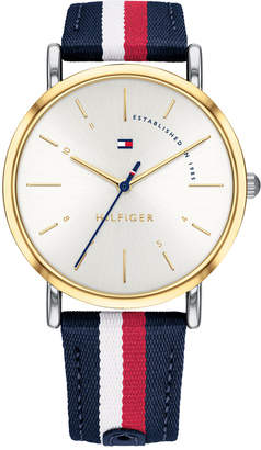 Tommy Hilfiger Women Red, White, & Blue Nylon Strap Watch 35mm