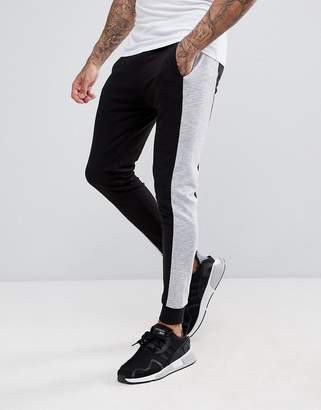 Asos Design Super Skinny Joggers With Nep Side Stripe