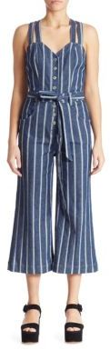 7 For All Mankind Striped Denim Jumpsuit $299 thestylecure.com