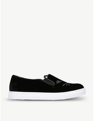 Charlotte Olympia Cool Cats velvet low-top trainers