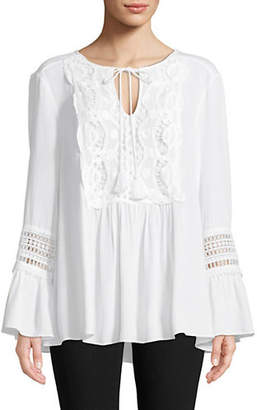 Vince Camuto Lace-Trimmed Bell-Sleeve Top