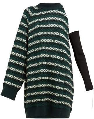 Raf Simons One Shoulder Striped Wool Blend Sweater - Womens - Green Multi