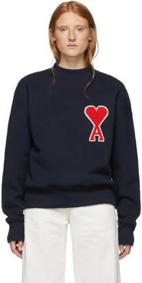 Ami Alexandre Mattiussi Navy Big Ami De Coeur Patch Sweatshirt